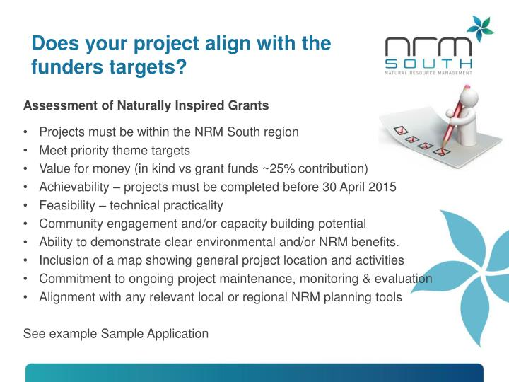Does your project align with the funders targets?