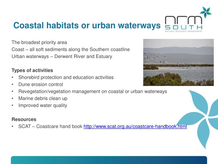 Coastal habitats or urban waterways