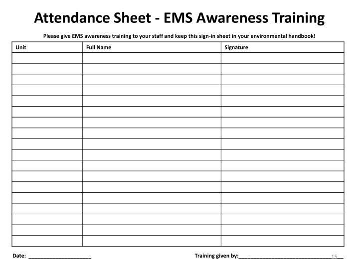 Attendance Sheet - EMS Awareness Training
