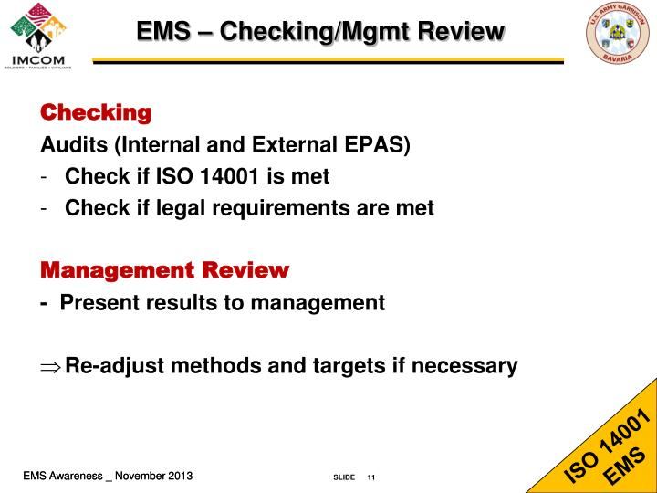 EMS – Checking/Mgmt Review