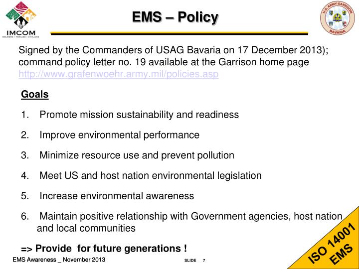 EMS – Policy