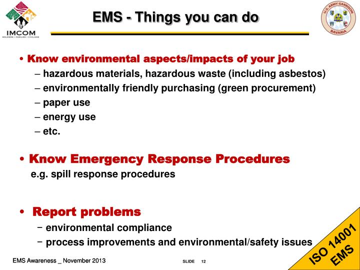 EMS - Things you can do