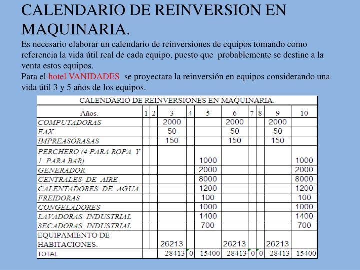 CALENDARIO DE REINVERSION EN MAQUINARIA.