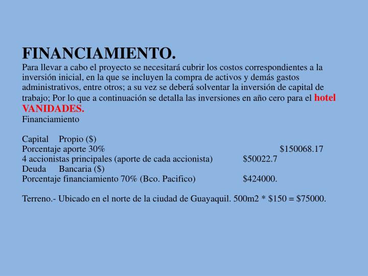 FINANCIAMIENTO.
