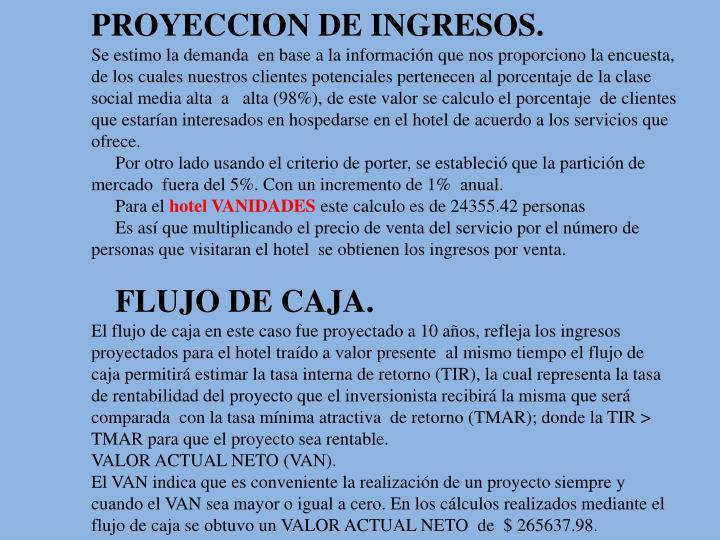 PROYECCION DE INGRESOS.