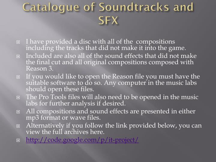 Catalogue of Soundtracks and SFX