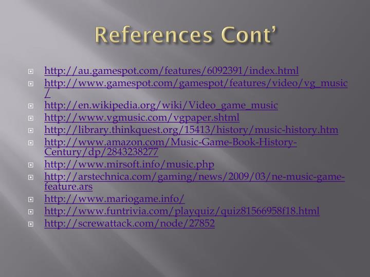 References Cont'
