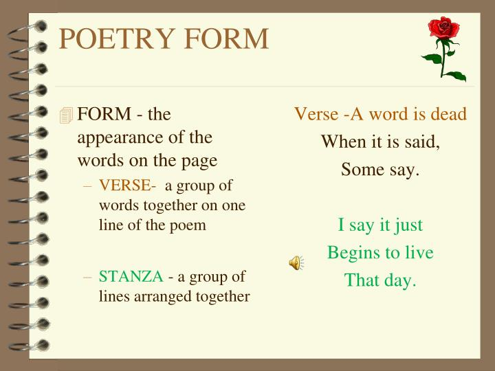 FORM - the appearance of the words on the page