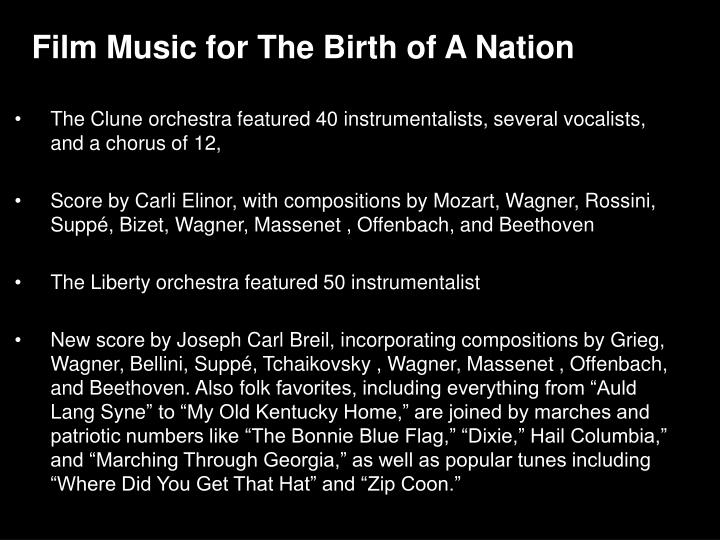 Film Music for The Birth of A Nation