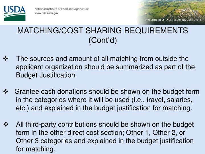 MATCHING/COST SHARING REQUIREMENTS (Cont'd