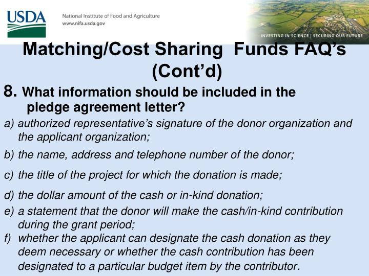 Matching/Cost Sharing  Funds FAQ's