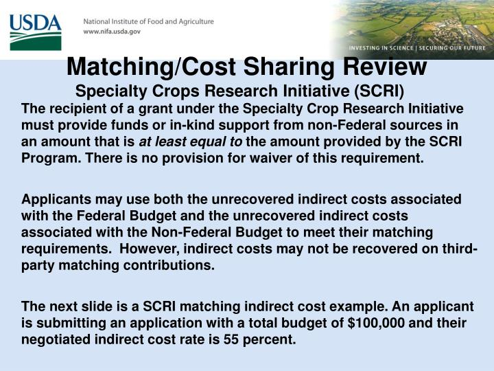 Matching/Cost Sharing Review