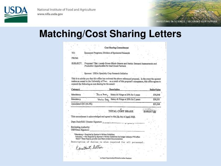 Matching/Cost Sharing Letters