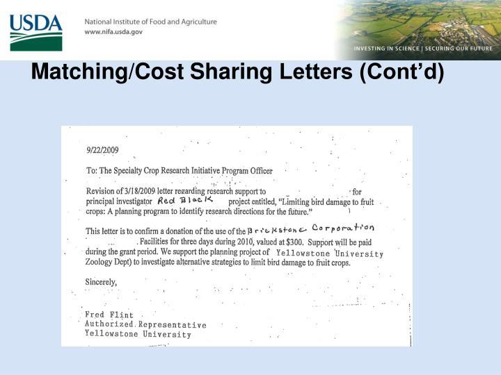 Matching/Cost Sharing