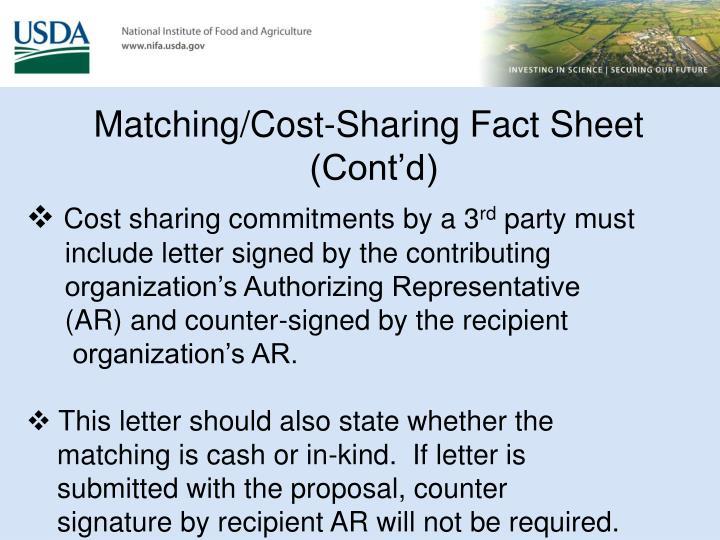 Matching/Cost-Sharing Fact Sheet