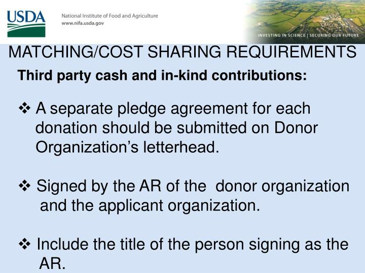 MATCHING/COST SHARING REQUIREMENTS
