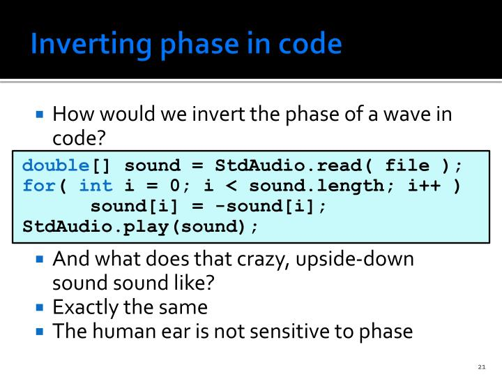 Inverting phase in code
