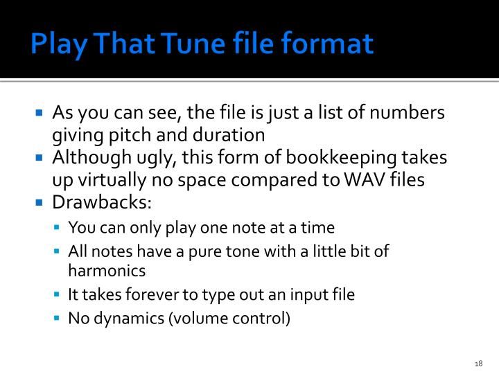 Play That Tune file format