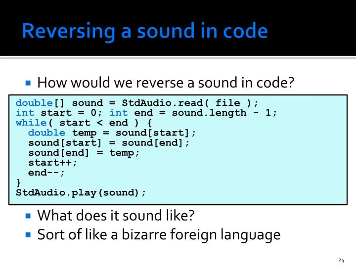 Reversing a sound in code