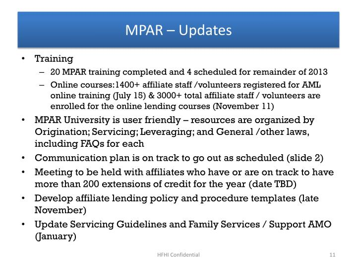 MPAR – Updates
