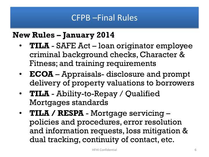 CFPB –Final Rules