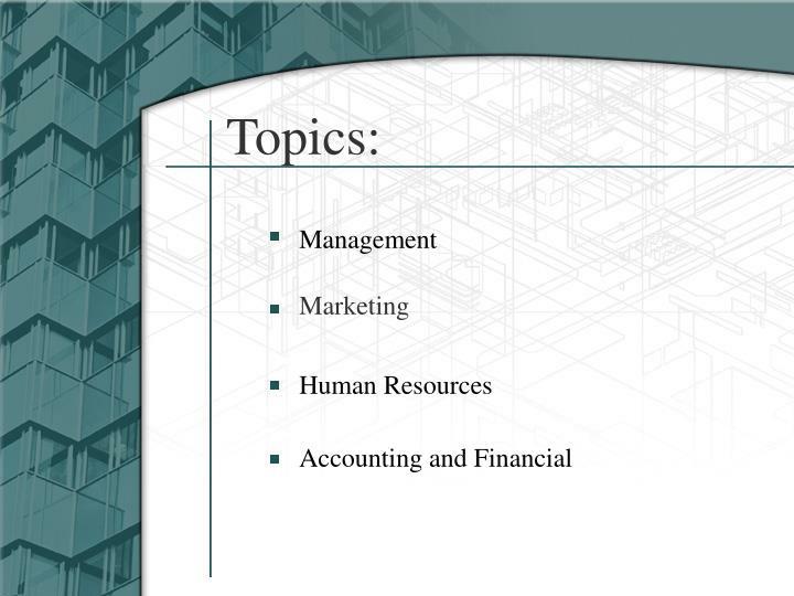 Topics: