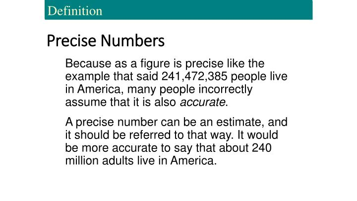 Precise Numbers