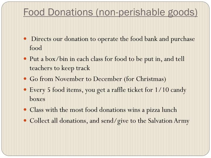 Food Donations (non-perishable goods)