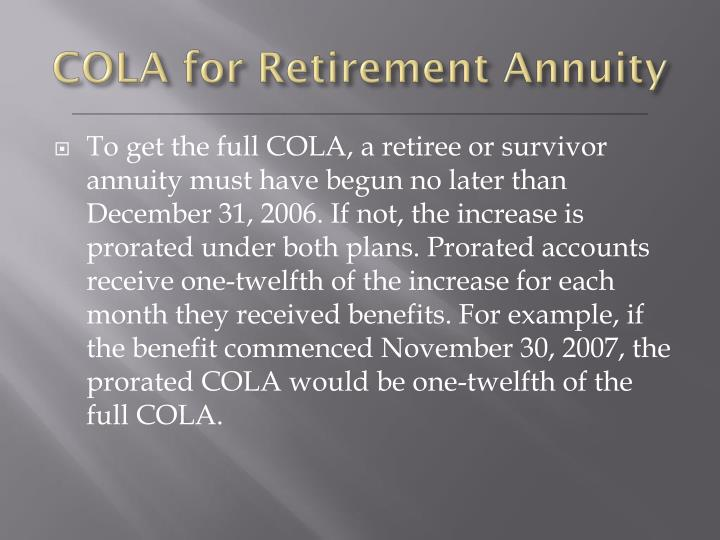 COLA for Retirement Annuity