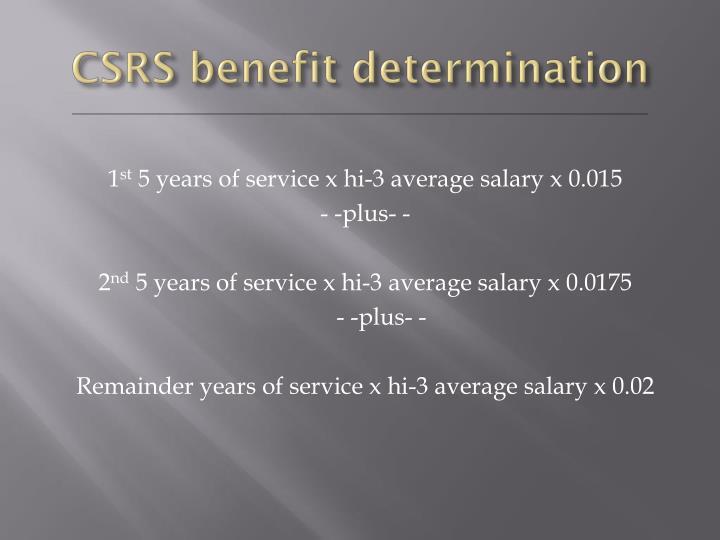 CSRS benefit determination
