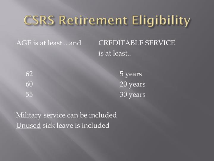 CSRS Retirement Eligibility