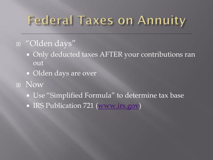 Federal Taxes on Annuity