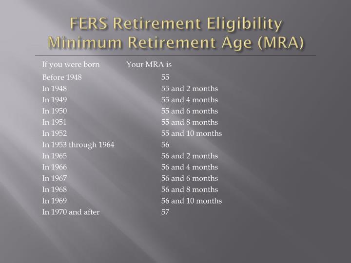 FERS Retirement Eligibility