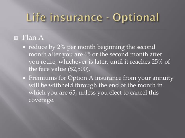 Life insurance - Optional