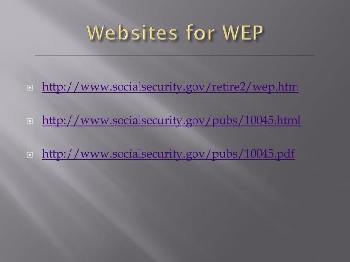 Websites for WEP