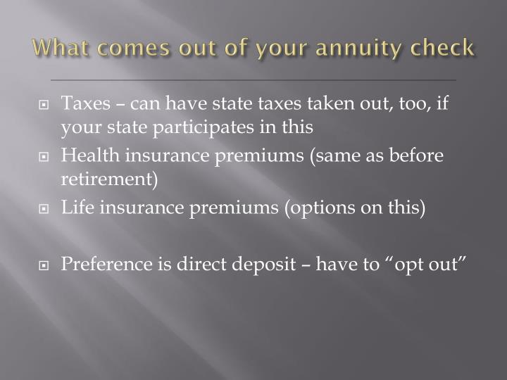 What comes out of your annuity check
