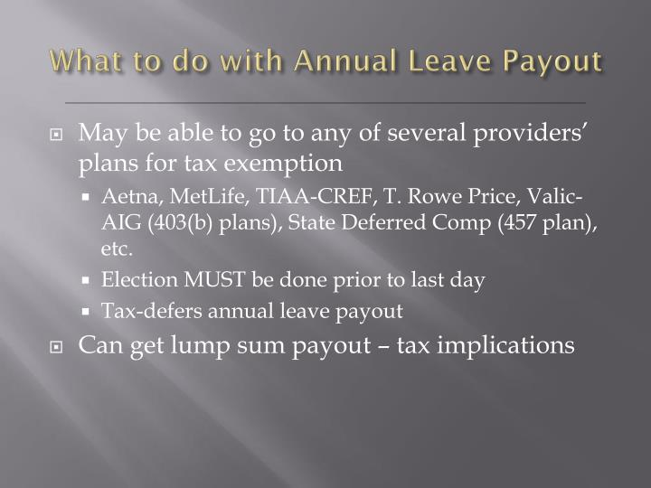 What to do with Annual Leave Payout