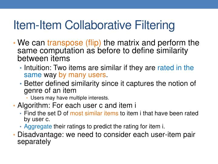 Item-Item Collaborative Filtering