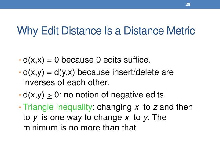 Why Edit Distance Is a Distance