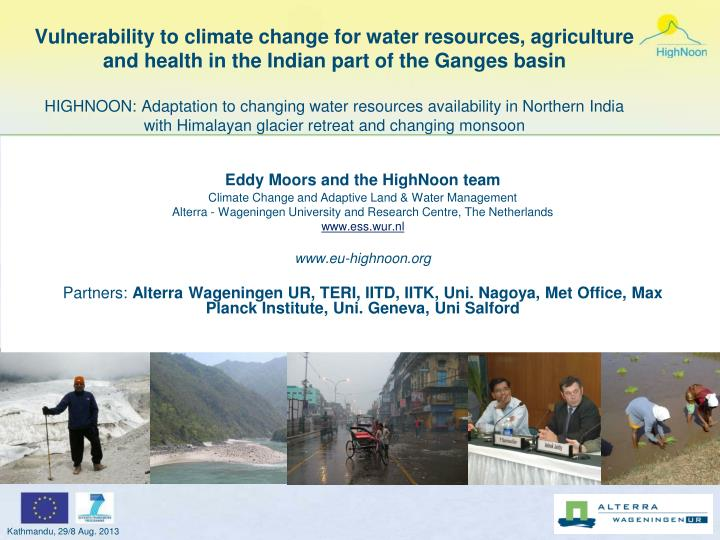 Vulnerability to climate change for water resources, agriculture