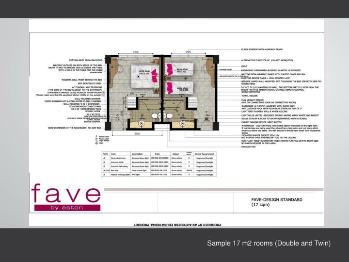 Sample 17 m2 rooms (Double and Twin)