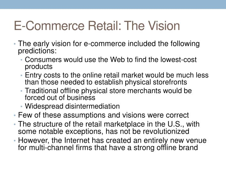 E-Commerce Retail: The Vision