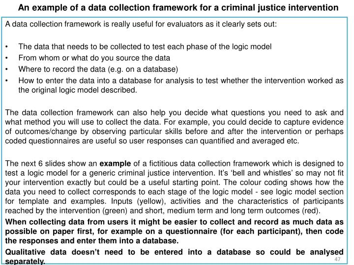 An example of a data collection framework for a criminal justice intervention