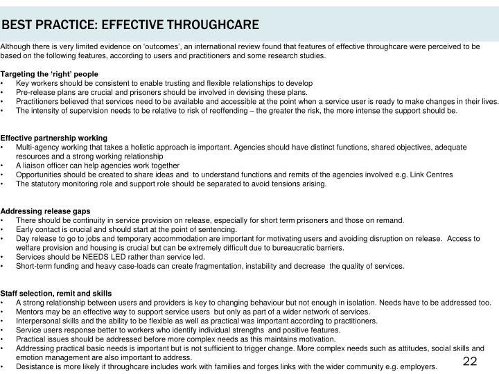BEST PRACTICE: EFFECTIVE THROUGHCARE