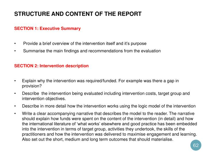 structure and content of the report
