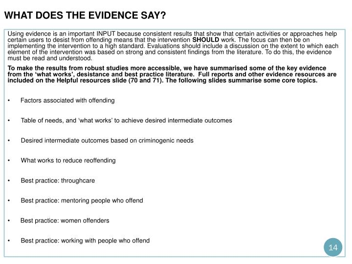 what does the evidence say?