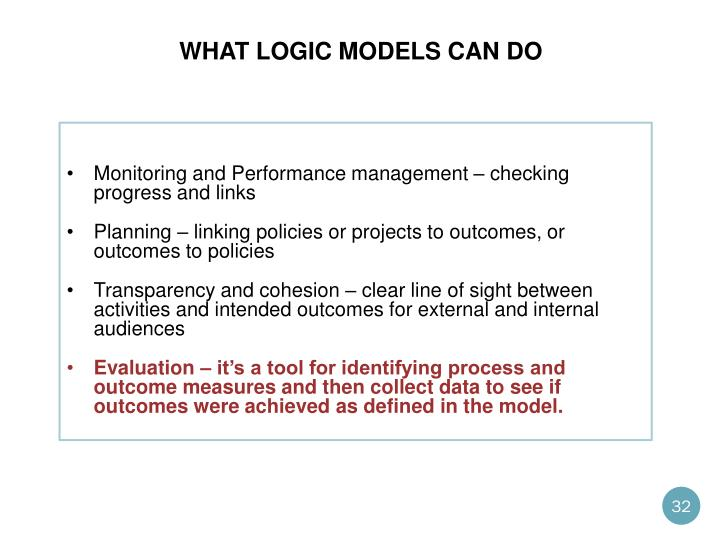 What logic models can do