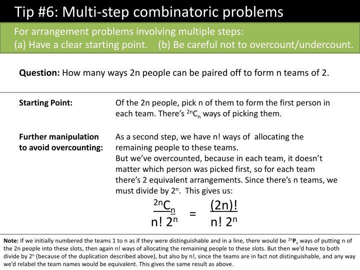 Tip #6: Multi-step combinatoric problems