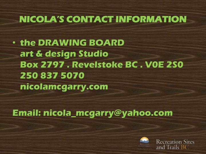 NICOLA'S CONTACT INFORMATION