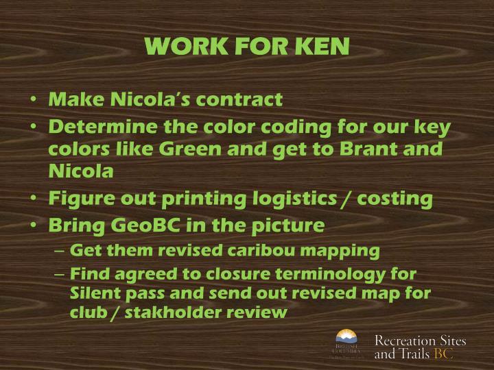 WORK FOR KEN